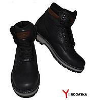 Мужские зимние кожаные(Сарагоса) ботинки, Falcon. Черные