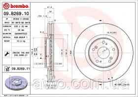 Диск передний тормозной Honda Akord 2.4 08-  ДПТ BREMBO 09.B269.10