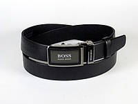 Ремень мужской кожаный HUGO BOSS 3,5 см с пряжкой автомат, мужской ремень из натуральной кожи (реплика)
