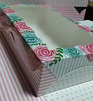 Коробка для зефиров 14х25х6 см Розы