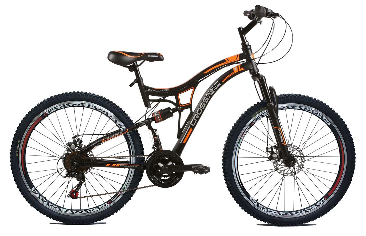 """Подростковый велосипед CROSSRIDE EXPLORER AMT 24""""  Черный/Оранжевый"""