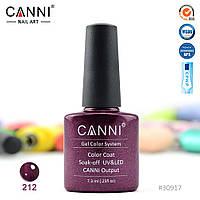 Гель-лак Canni 212 винный с микроблеском 7.3ml