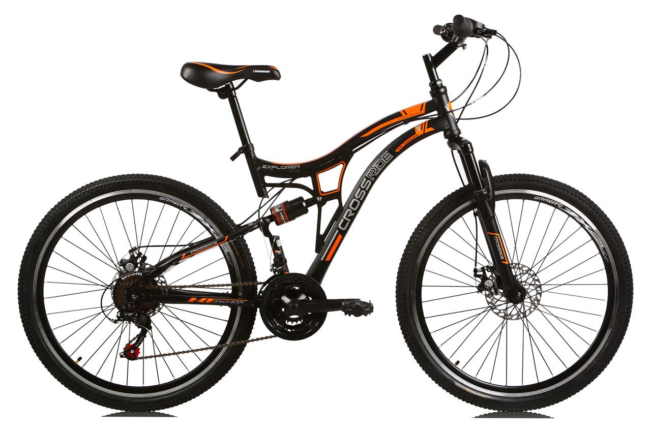 """Горный велосипед CROSSRIDE EXPLORER AMT 26"""" 17"""" Черный / Оранжевый"""