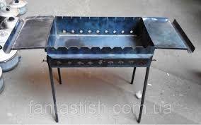 Мангал стационарный с двумя столиками, со съёмными ножками. Толщина металла 3 мм.