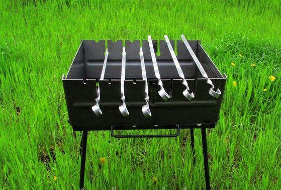 Мангал чемодан толщина металла 2 мм с дополнительной прорезью под шампура - 6 шт.