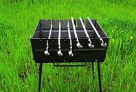 Мангал-чемодан 3 мм с дополнительной прорезью под шампура ( 6 шт.)