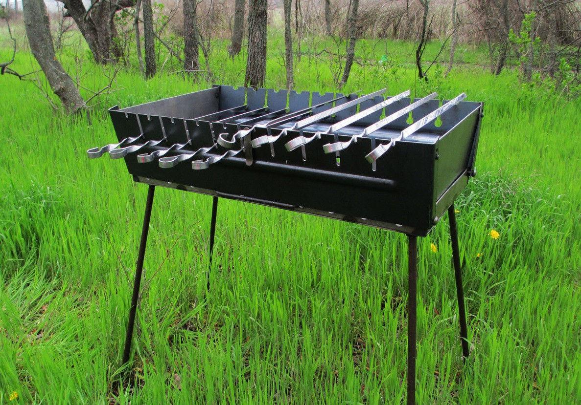 Мангал-чемодан толщина металла 2 мм с дополнительной прорезью под шампура ( 10 шт.)