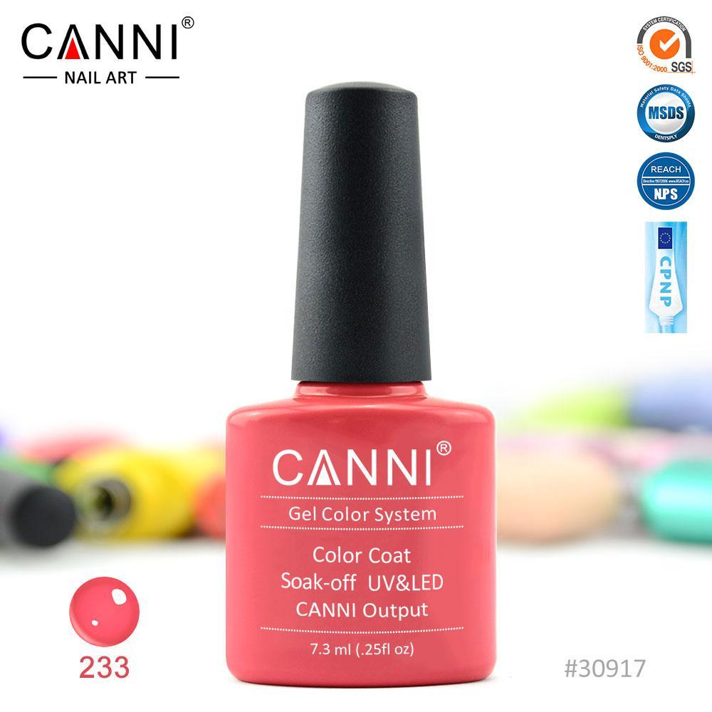 Гель-лак Canni 233 коралловый розовый 7.3ml