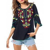 Женская Блузка С Вышивкой Цветков M