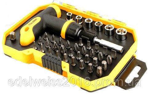 Отвертка с трещоткой и карданом + набор насадок 36 отверточных и 6торцевых,