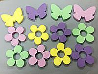 Цветы и бабочки из пенопласта крашенные 10 см