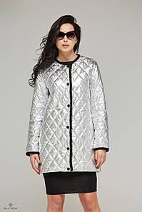 Куртка-плащ стеганая демисезонная металлик