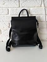 """Женский кожаный рюкзак-сумка(трансформер) """"Анжелика Black Matte"""""""