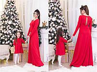 Красивое платье с воротничком для девочки, серия мама и дочка