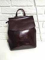 """Женский кожаный рюкзак-сумка(трансформер) """"Анжелика Dark Brown"""""""