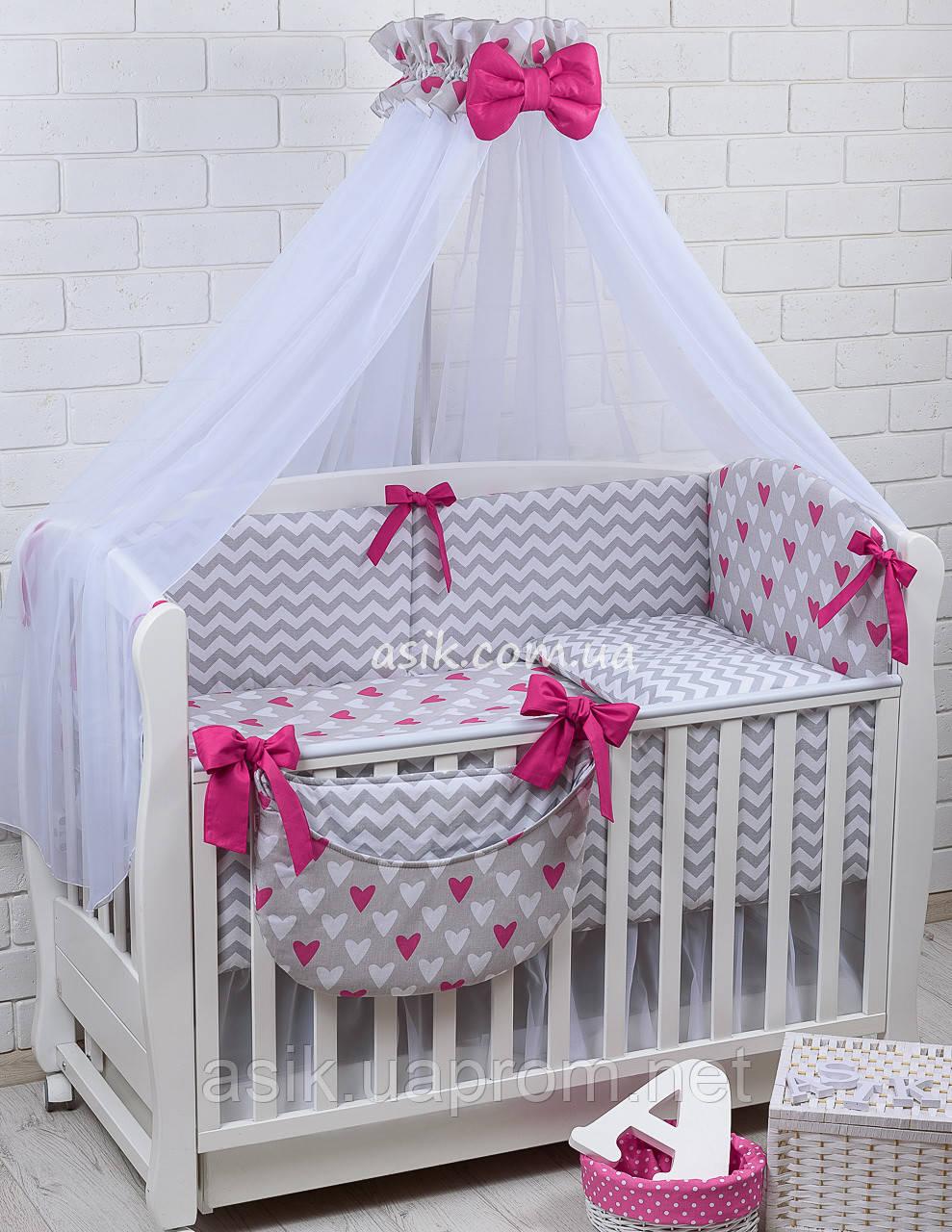 Комплект постельного белья Asik Сердечки амарантового цвета на сером 8 предметов (8-225)