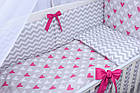 Комплект постельного белья Asik Сердечки амарантового цвета на сером 8 предметов (8-225), фото 4