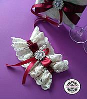 Свадебная подвязка в цвете марсал