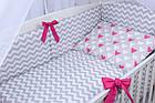 Комплект постельного белья Asik Сердечки амарантового цвета на сером 8 предметов (8-225), фото 6