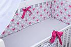 Комплект постільної білизни Asik Сердечка амарантового кольору на сірому 8 предметів (8-225), фото 7