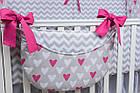Комплект постельного белья Asik Сердечки амарантового цвета на сером 8 предметов (8-225), фото 5