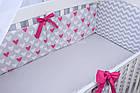 Комплект постільної білизни Asik Сердечка амарантового кольору на сірому 8 предметів (8-225), фото 10