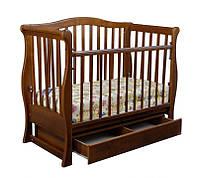 Кроватка детская + выдвижные ящики, два положения ложе, маятник, защитные накладки  VIVA