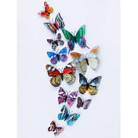 Двойной слой светящиеся 3D бабочки стены стикеры Разноцветный