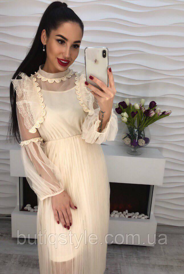 e2eb72249fd Очень красивое платье шифон с дорогим кружевом только молоко ...