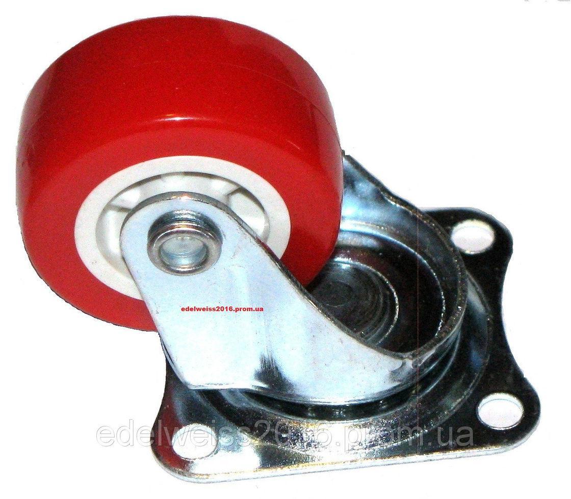 Ролик поворотный резина (красный) Н=50 мм