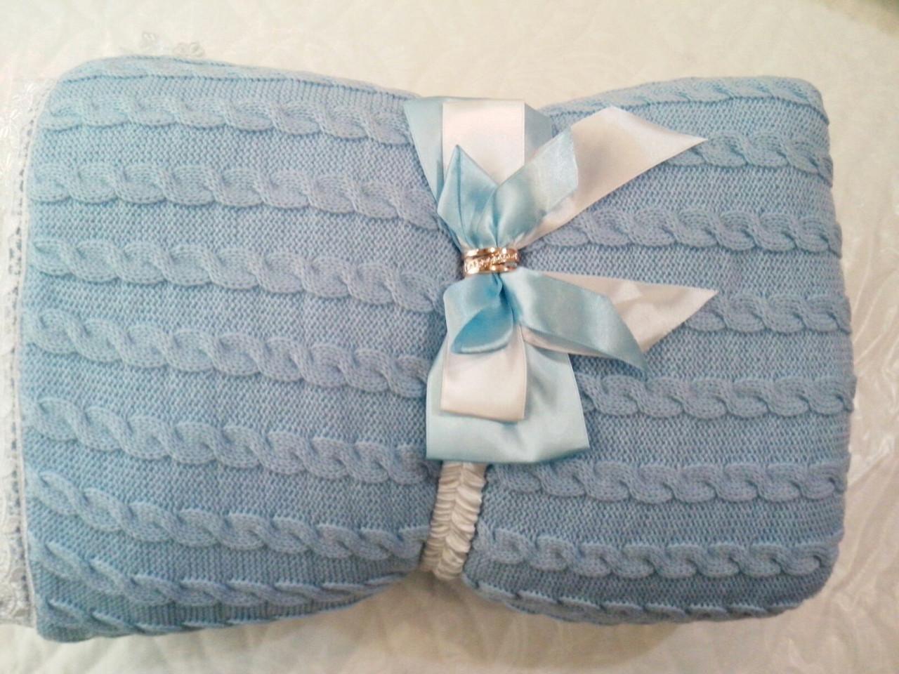 теплый вязаный конверт одеяло на выписку из роддома Biglua