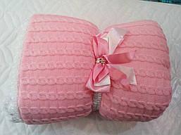 Теплый вязаный конверт-одеяло на выписку из роддома