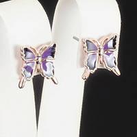 Милые серьги Бабочки, покрытые золотом 0619