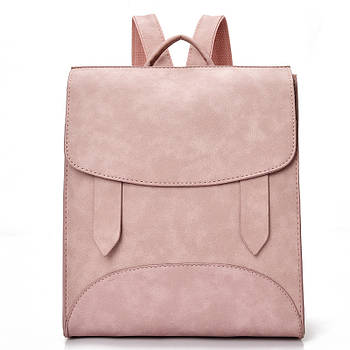Модний рюкзак жіночий міський. Рюкзак для дівчинки з хлястиками (рожевий)