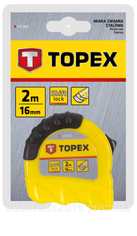 Рулeткa TOPEX 27C303 3м / 16 мм двухцветная Shiftlock