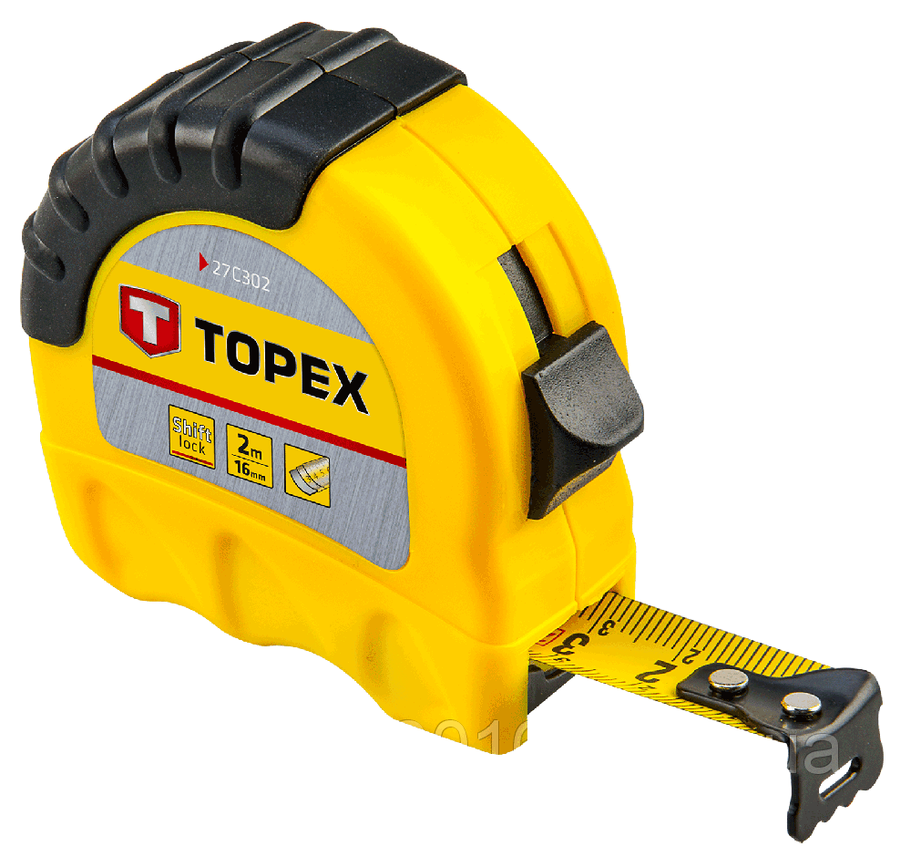 Рулeткa TOPEX 27C308 8м / 25 мм двухцветная Shiftlock