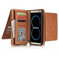 Ретро чехол кошельки для мобильного телефона с молнией для Samsung Galaxy S8 Коричневый