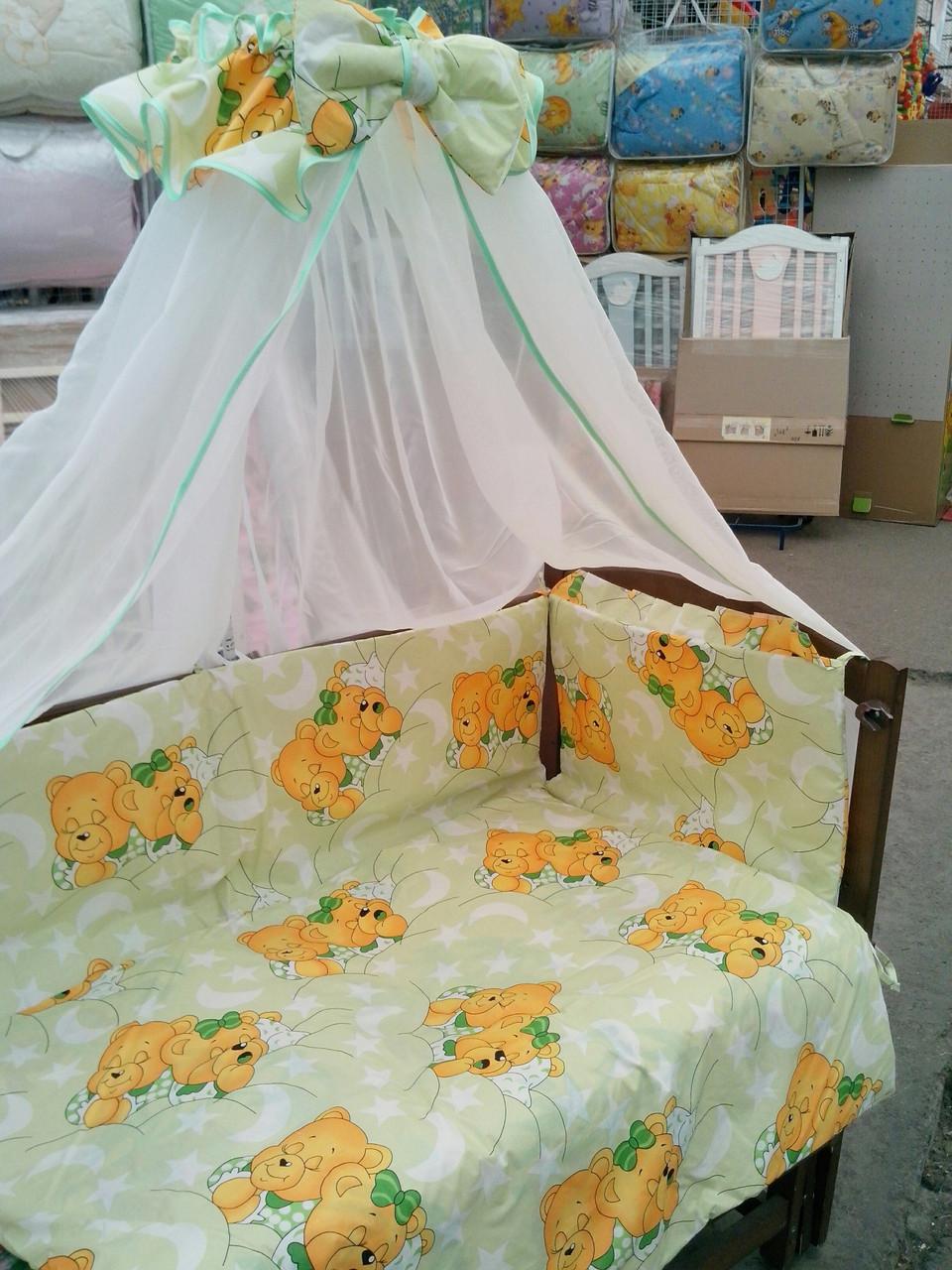 """Детское постельное бельё в кроватку для новорожденных """" Мишки спят"""" салатовый"""