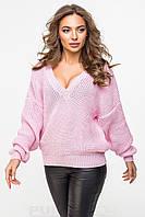 Свитер розовый вязаный женский нарядный., фото 1