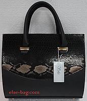 Каркасная  женская сумочка с вставкой