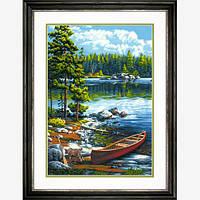 """Набор для рисования красками по номерам """"Каное у озера//Canoe by the Lake"""" DIMENSIONS"""