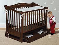 Детская безопасная кроватка, ящик для белья, натуральный материал, маятник, цвет орех