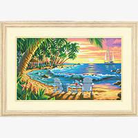 """Набор для рисования красками по номерам """"Пляж на закате//Sunset Beach"""" DIMENSIONS"""