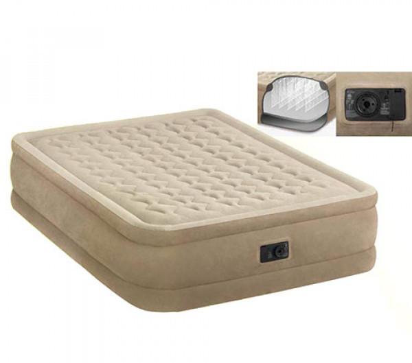 Надувная двуспальная велюровая кровать Intex 64458 со встроенным насосом