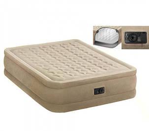 Надувная двуспальная велюровая кровать Intex 64458 со встроенным насосом, фото 2