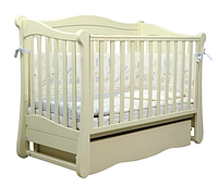Детская безопасная кроватка, ящик для белья, натуральный материал, маятник, цвет слоновая кость