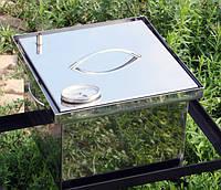 Коптильня с гидрозатвором для горячего копчения 2х ярусная из нержавеющей стали 300х300х200 с термометром