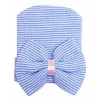 Детская шапка с бантом для новорожденных Синий