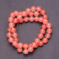 Бусины из натурального камня Халцедон розовый  на леске  шарик d-8мм L-38см
