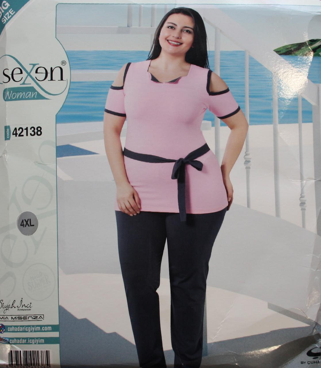 Пижама SEXEN (Батал) женская с коротким рукавом и штанами 42138